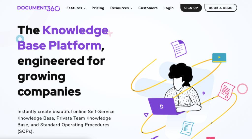 software de base de conocimientos document360