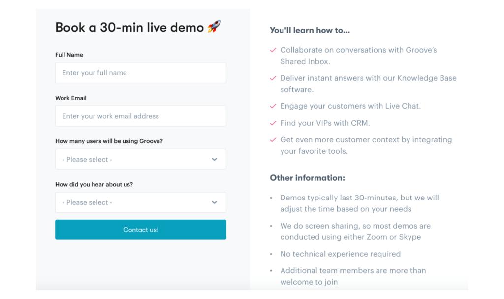 página de registro para capacitación en vivo para la incorporación de clientes