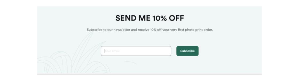 Formulario de captura de correo electrónico en el sitio web.