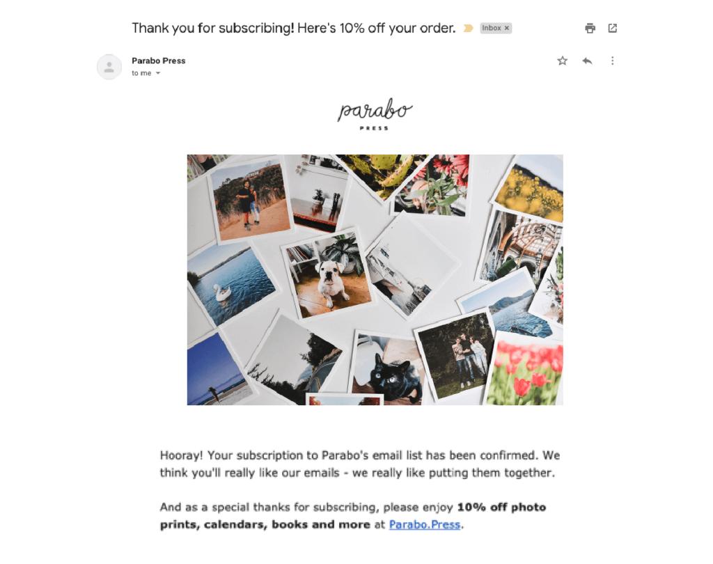 ejemplo de correo electrónico de respuesta automática de comercio electrónico.