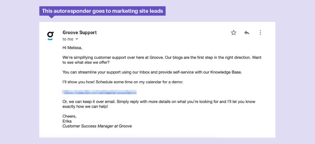 Esta respuesta automática se dirige a los clientes potenciales de marketing.