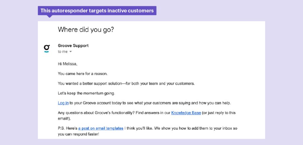 Esta respuesta automática evita la rotación y se dirige a los clientes inactivos.