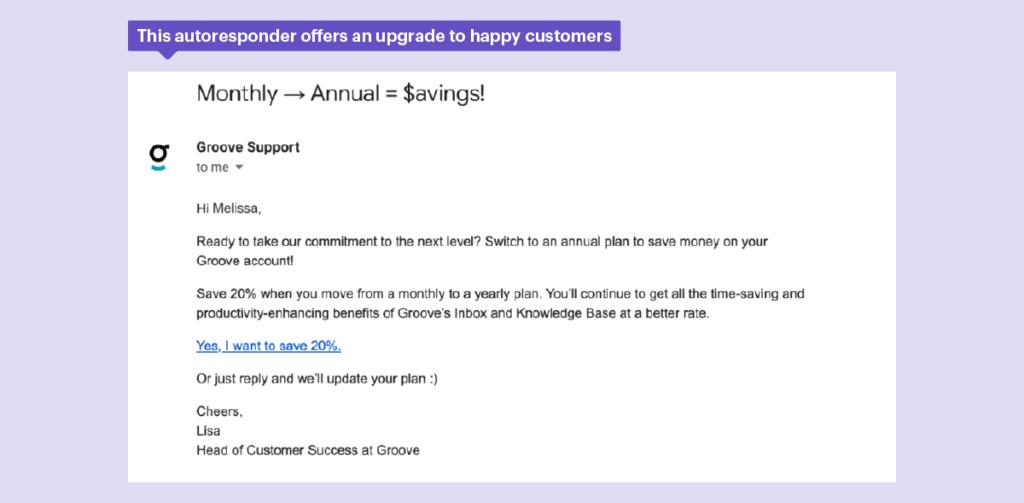Esta respuesta automática se utiliza para aumentar las ventas a los clientes.
