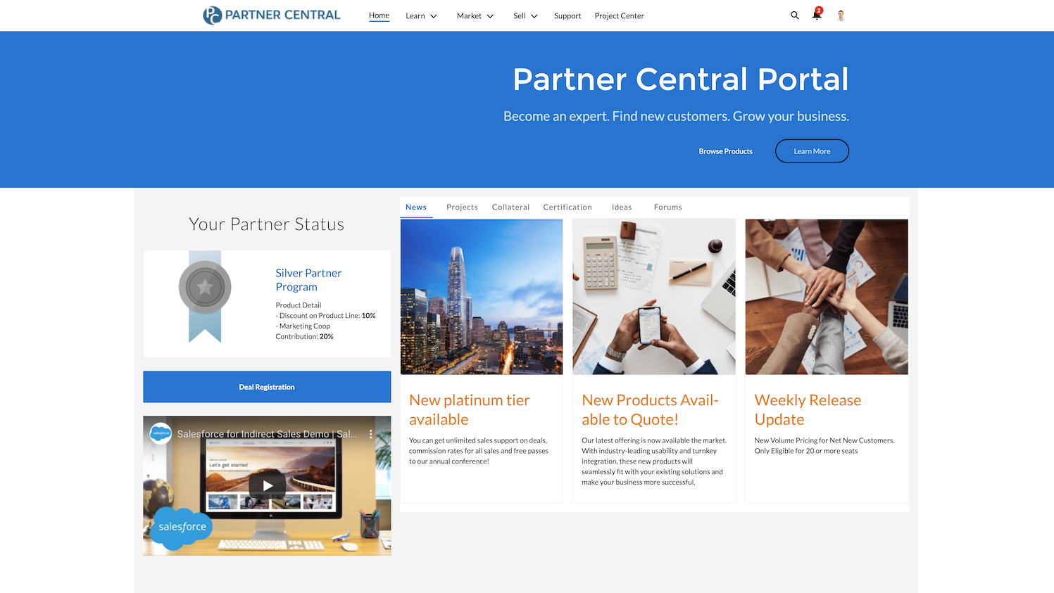 captura de pantalla del portal central de socios