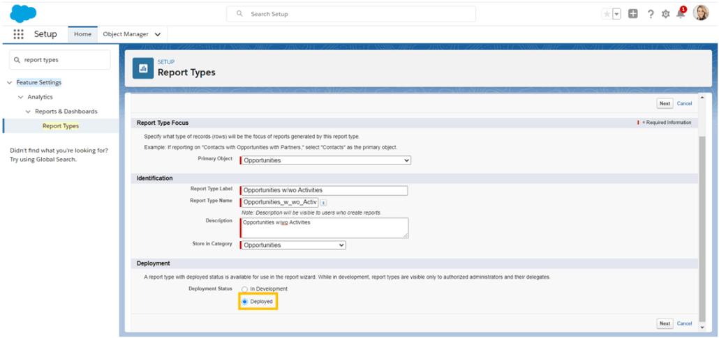 Hacer que su tipo de informe personalizado de Salesforce sea visible para los usuarios