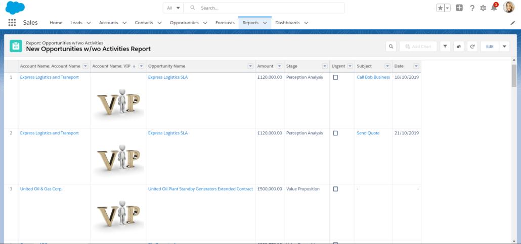 Resultado de un tipo de informe personalizado de Salesforce