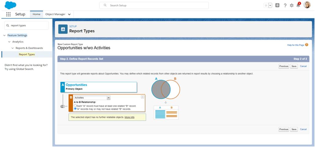 Seleccionar objetos primarios y adicionales en un tipo de informe personalizado de Salesforce