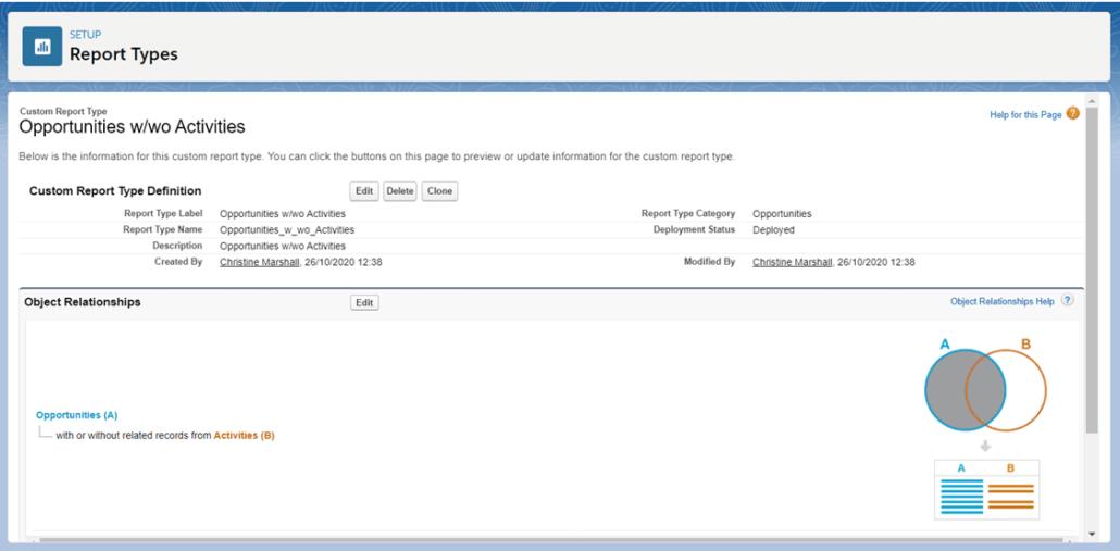 Obtenga una vista previa de su tipo de informe personalizado de Salesforce