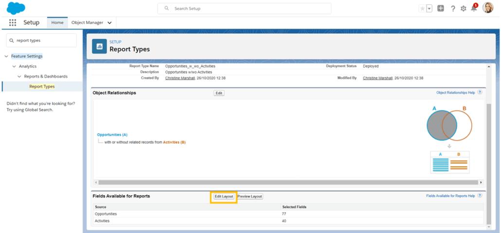 Cambiar los campos disponibles en un tipo de informe personalizado de Salesforce