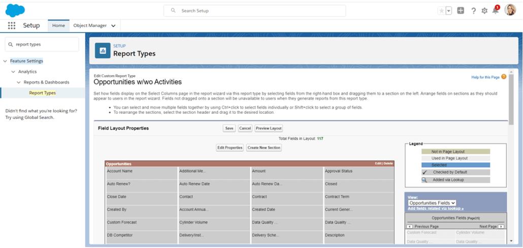 Editar campos disponibles en un tipo de informe personalizado de Salesforce