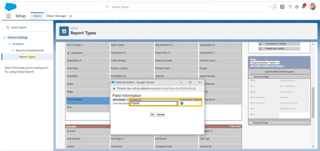 Cambiar el nombre de los campos en un tipo de informe personalizado de Salesforce