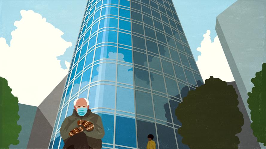 """Ilustración de la foto del meme """"Bernie se sienta"""" frente a los desarrolladores de TI de San Francisco Salesforce Tower Heroku"""