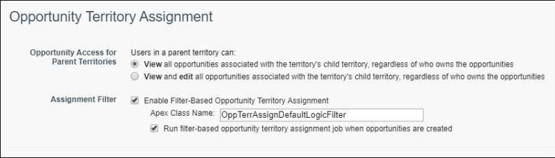 La página Configuración de territorio con asignación de territorio de oportunidad basada en filtros habilitada