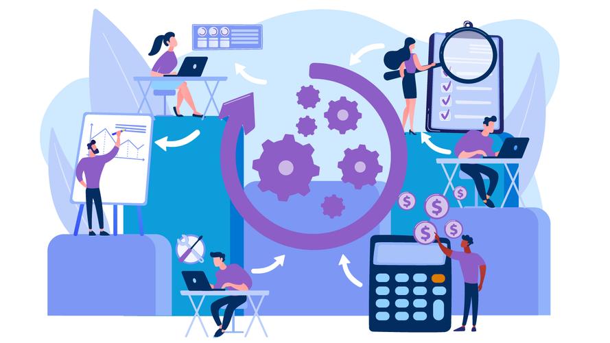 hombres y mujeres que trabajan en oficinas con la automatización del flujo de trabajo impuesta sobre el gráfico