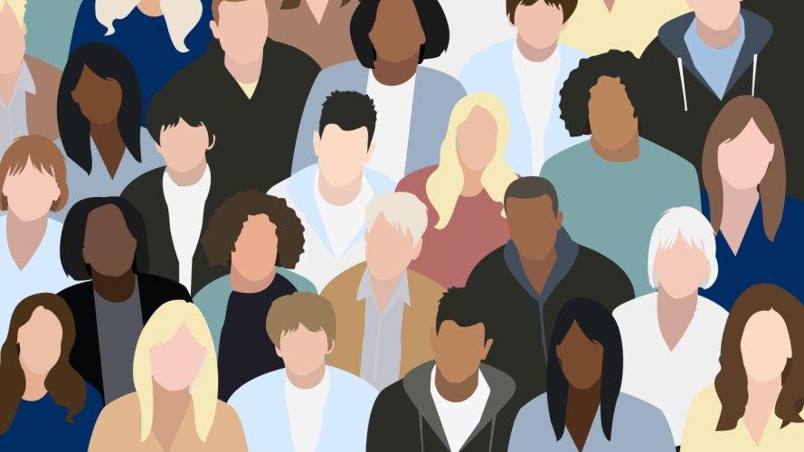 Ilustración de una variedad de personas sin rasgos faciales en una multitud.